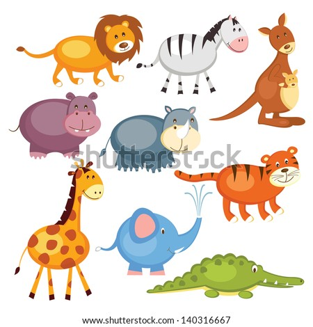Set of cartoon cute wild animals, isolated over white - stock vector
