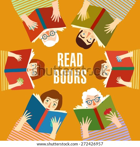 Set of cartoon different age people reading books.  Educational poster. Vector illustration. - stock vector