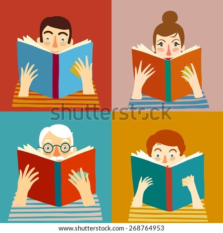 Set of cartoon different age people reading books. Vector illustration. - stock vector