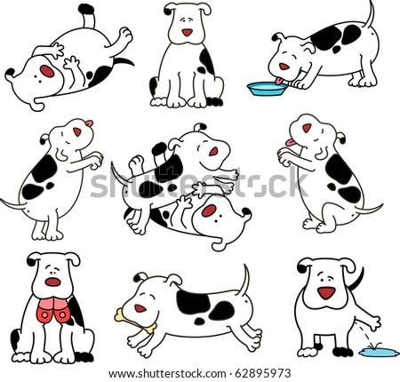 Set of cartoon dogs. Vector illustration. - stock vector
