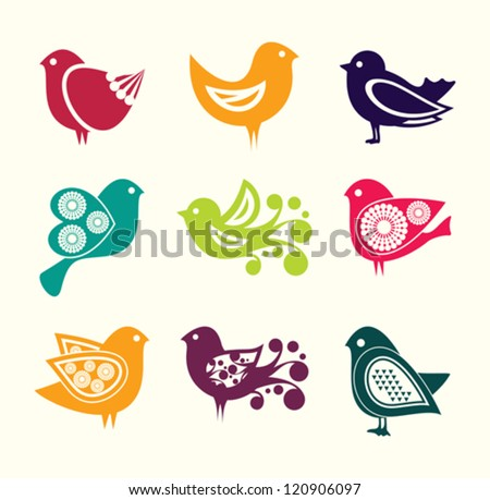 Set of cartoon doodle birds icons - stock vector