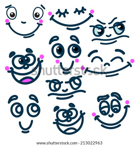 Set of cartoon emotions on a white background. Joy, anger, aggression, and other - stock vector
