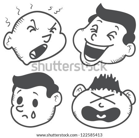 set of cartoon expression - stock vector