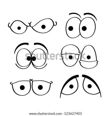 Set of cartoon eyes. - stock vector