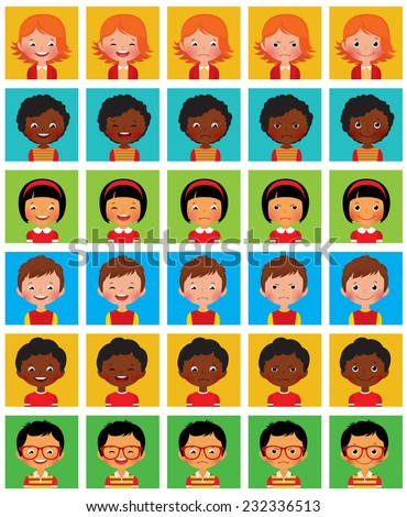 Set of cartoon face with different emotions/Set of stylized avatars with different facial emotions/Set of vector avatars with different facial emotions - stock vector