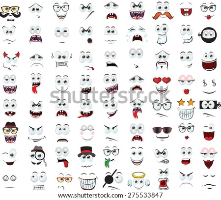 Set of cartoon faces with different emotions  - stock vector
