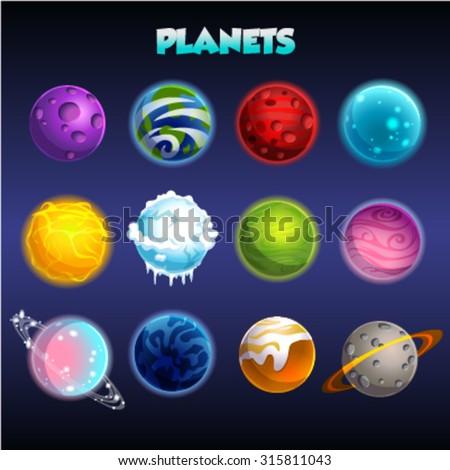 Set of cartoon fantastic planets - stock vector