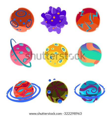 Set of cartoon fantasy planets and asteroids Vector Illustration - stock vector