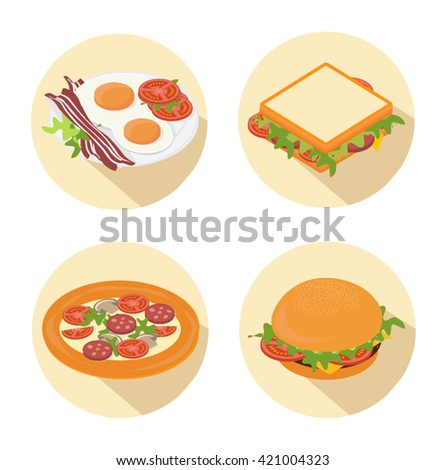 Set of cartoon fast food icon with long shadow  on white background.  Vector illustration - stock vector
