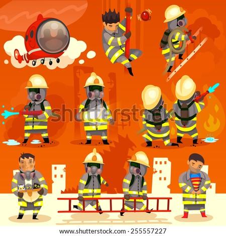 Set of cartoon fireman doing their job and saving people.  - stock vector