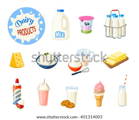 Set of cartoon food: dairy products - milk, yogurt, cheese, butter, milkshake, ice cream, whipped cream and so. Vector illustration, isolated on white. - stock vector