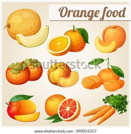 Set of cartoon food icons. Orange food. Melon, orange, peach, apricot, persimmon, mandarine, mango,grapefruit, carrot - stock vector