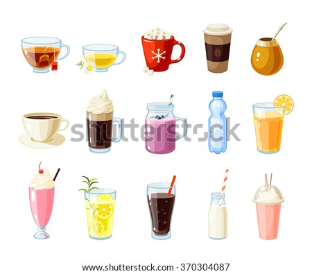 Set of cartoon food: non-alcoholic beverages - tea, herbal tea, hot chocolate, latte, mate, coffee, root beer, smoothie, juice, milk shake, lemonade and so. Vector illustration, isolated on white. - stock vector