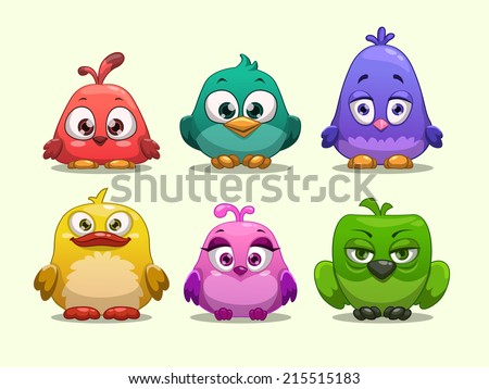 Set of cartoon funny birds - stock vector