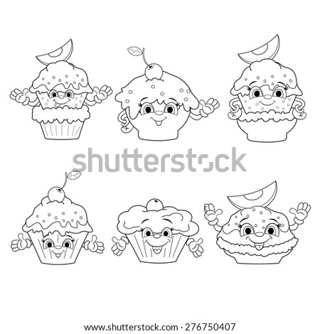 Set of cartoon funny icons of different types of cakes on white background. Coloring book. - stock vector