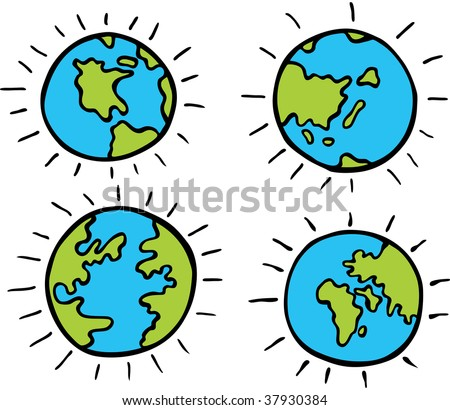 set of cartoon globes isolated on a white background. - stock vector