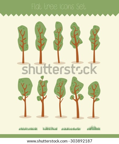 Set of cartoon hand-drawn trees and grass elements - stock vector