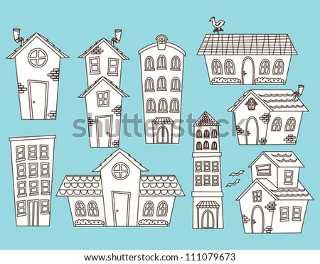 set of cartoon house and building - stock vector