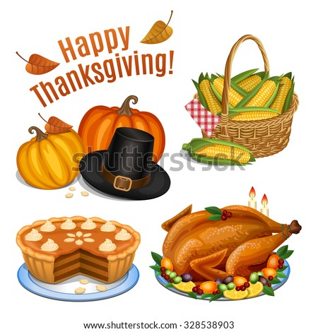 Set of cartoon icons for thanksgiving dinner, roast Turkey, pumpkin, pumpkin pie, pilgrim hat, corn. Vector illustration - stock vector