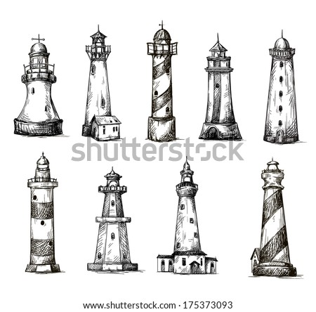 set of cartoon lighthouses. icons. pencil drawing style.  - stock vector