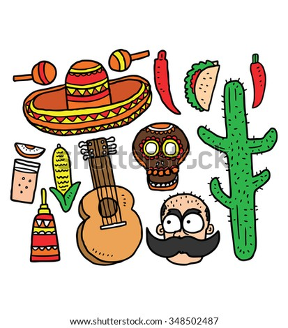 set of cartoon mexico related object in doodle style - stock vector