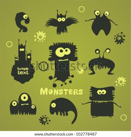 Set of cartoon monsters - stock vector
