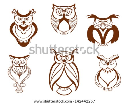 Set of cartoon owl birds isolated on white background, also as a logo template. Jpeg version also available in gallery  - stock vector