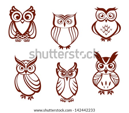 Set of cartoon owls for wisdom or education concept design. All birds are isolated on white background. Jpeg version also available in gallery  - stock vector