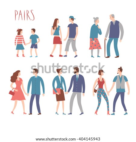 Set of cartoon pairs in various lifestyles and ages. Including businessman,  teenagers, children, seniors. Characters illustrations for your design. - stock vector