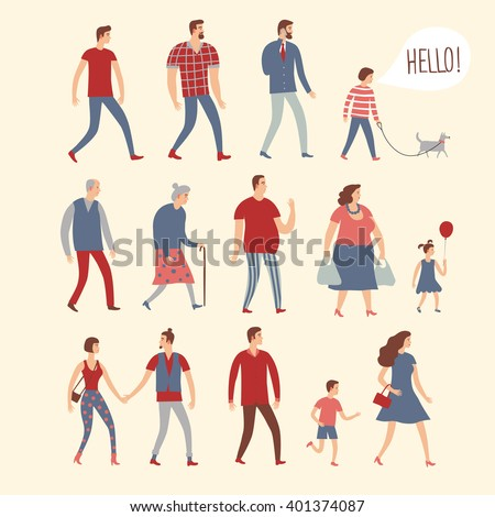 Set of cartoon people in various lifestyles and ages. Including businessman, man, woman, teenagers, children, seniors, couple. Characters illustrations for your design. - stock vector