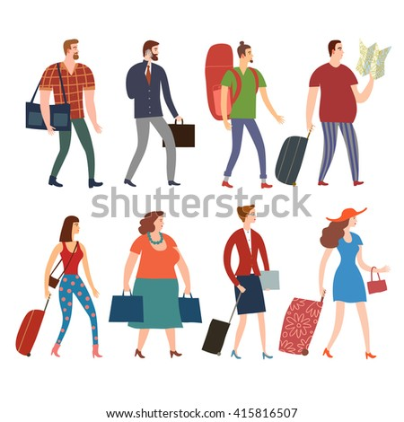 Set of cartoon people in various lifestyles walking with bags and suitcases. Including traveling businessman, man, woman, teenagers. Characters illustrations for your design. - stock vector