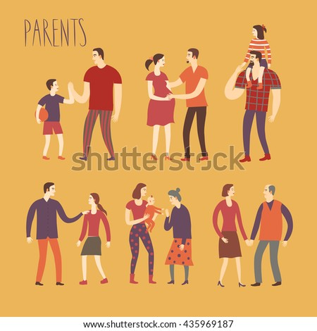 Set of cartoon people.Parents with kids. Including man, woman, teenagers, babies, adults, old people. Characters illustrations about love and support n family for your design. - stock vector