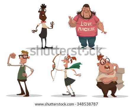 Set of cartoon people. They very smart but look very strange and funny. They are different sizes and colors, but all love science and games. vector illustration - stock vector