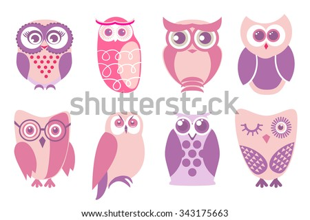 Set of cartoon pink owls. Vector illustration of cartoon owls in baby pink colors. - stock vector