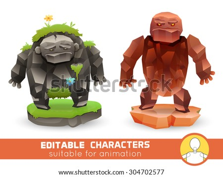 Set of cartoon rock monsters editable elemental  characters. Suitable for animation, video and games. You can change color, position of body parts, dress and size. Vector illustration - stock vector
