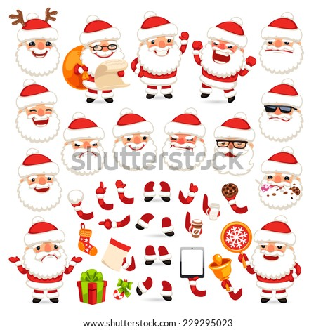 Set of Cartoon Santa Claus for Your Christmas Design or Animation. Isolated on White Background. Clipping paths included in additional jpg format. - stock vector