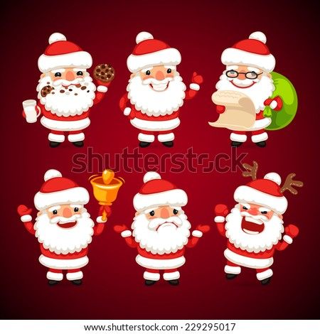 Set of Cartoon Santa Claus in Various Poses. Happy Holidays. Clipping paths included in additional jpg format. - stock vector
