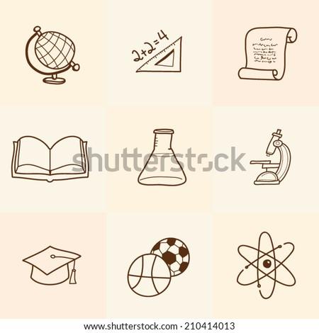 Set of cartoon school icons - stock vector
