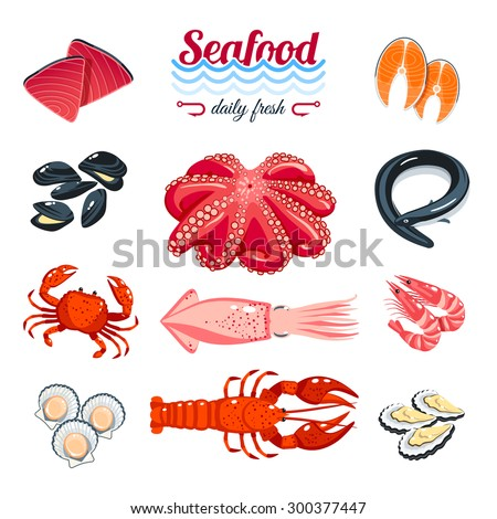 Set of cartoon sea food - tuna, salmon, clams, crab, lobster and so. Vector illustration, isolated on white, eps 10. - stock vector