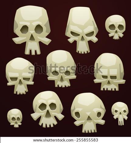 Set of Cartoon Skulls, vector - stock vector