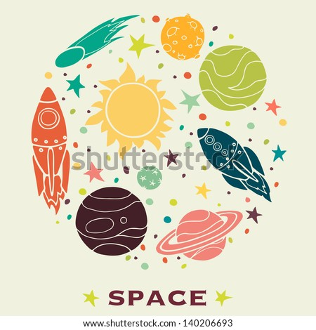 Set of cartoon space elements in circle: rockets, planets and stars. Childish background. Hand drawn vector illustration. - stock vector