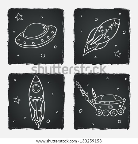 Set of cartoon space elements: rockets, spaceships and stars. Childish background. Vector illustration. - stock vector