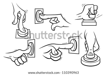 Set of 6 cartoon style hands, pushing a button. Outline. - stock vector