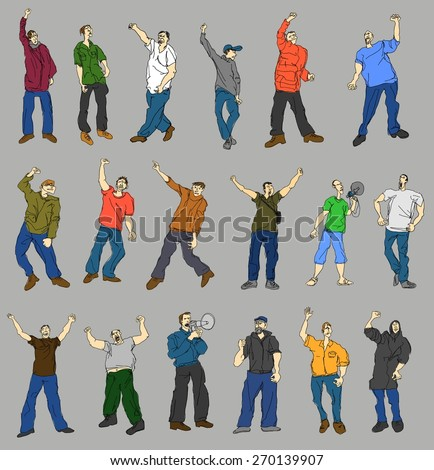 Set of cartoon vector protesters - stock vector