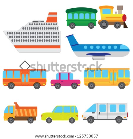 Set of cartoon vehicles representing children toys on the white background. - stock vector