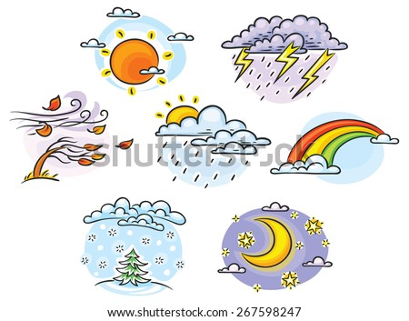 Set of cartoon weather illustrations, hand drawn, colorful, no gradients - stock vector