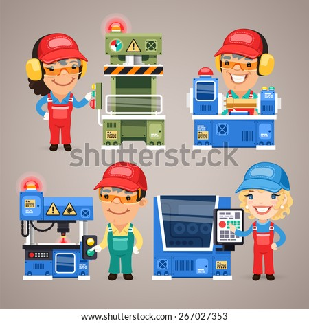Set of Cartoon Workers Working on the Factory Machines. In the EPS file, each element is grouped separately. - stock vector