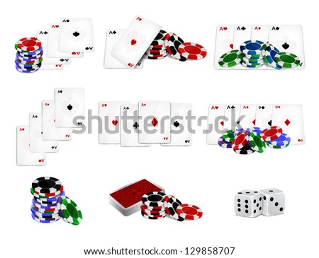 Set of casino chips and cards. EPS10 vector - stock vector