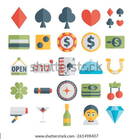 Set of casino icons in flat design - stock vector
