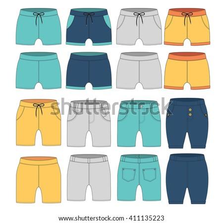 set of casual pants cutting design - stock vector